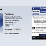Das kostenlose App Facebook für das iPhone
