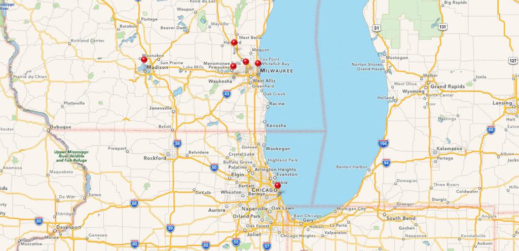 Karte unserer Tour durch Wisconsin und nach Chicago