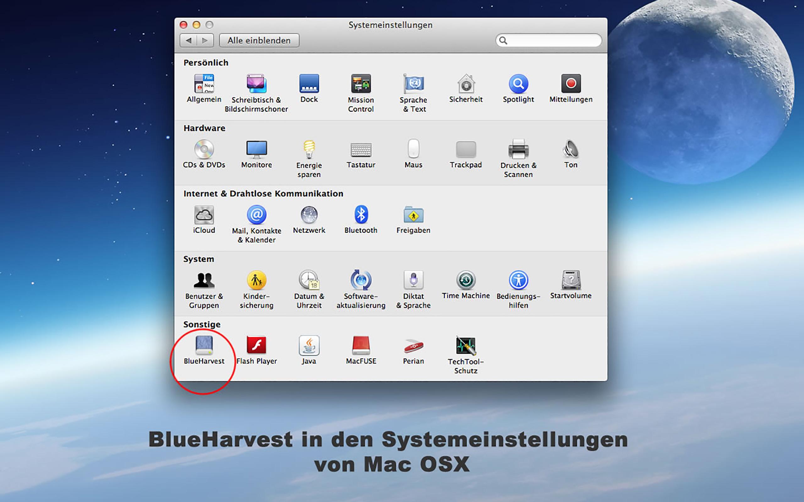 BlueHarvest in den Systemeinstellungen von Mac OS X