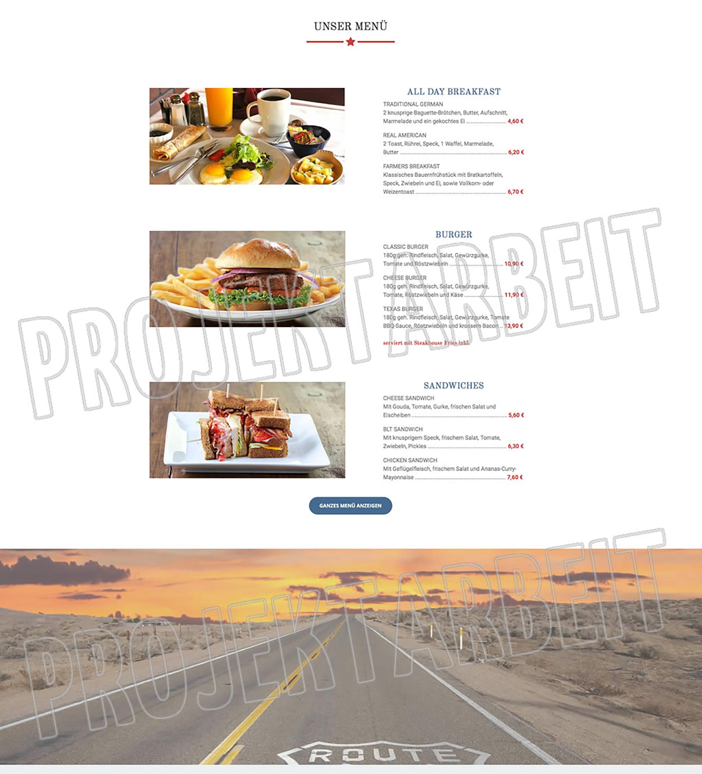 Projektarbeit Café 66 – Webseite
