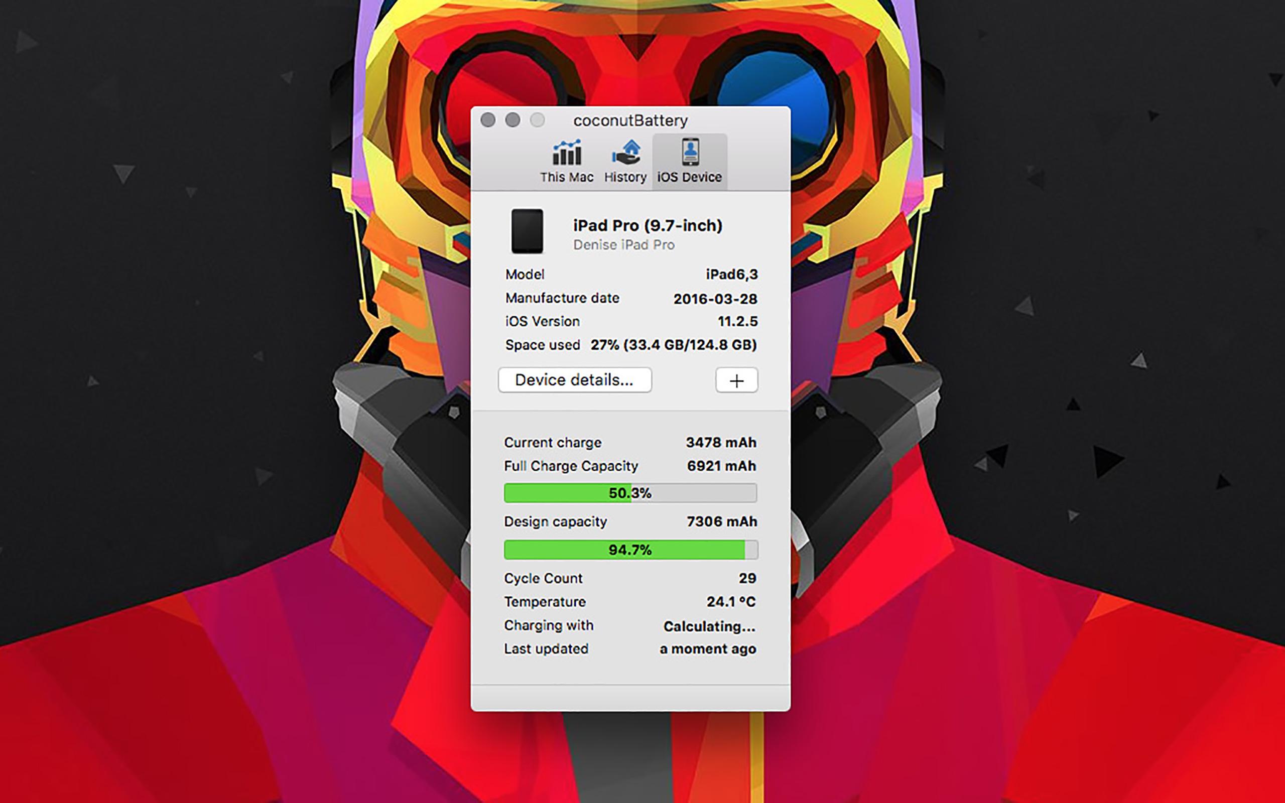 Informationen zum Akku des iPad Pro.