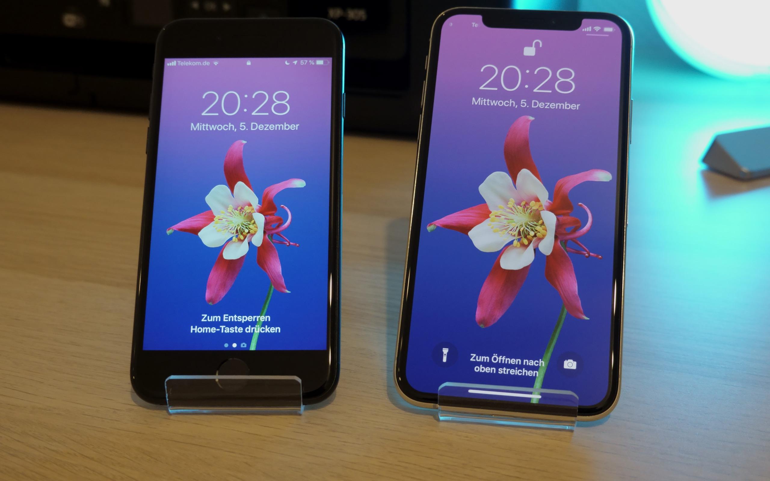 Apple iPhone 7 und iPhone XS im Größenvergleich.