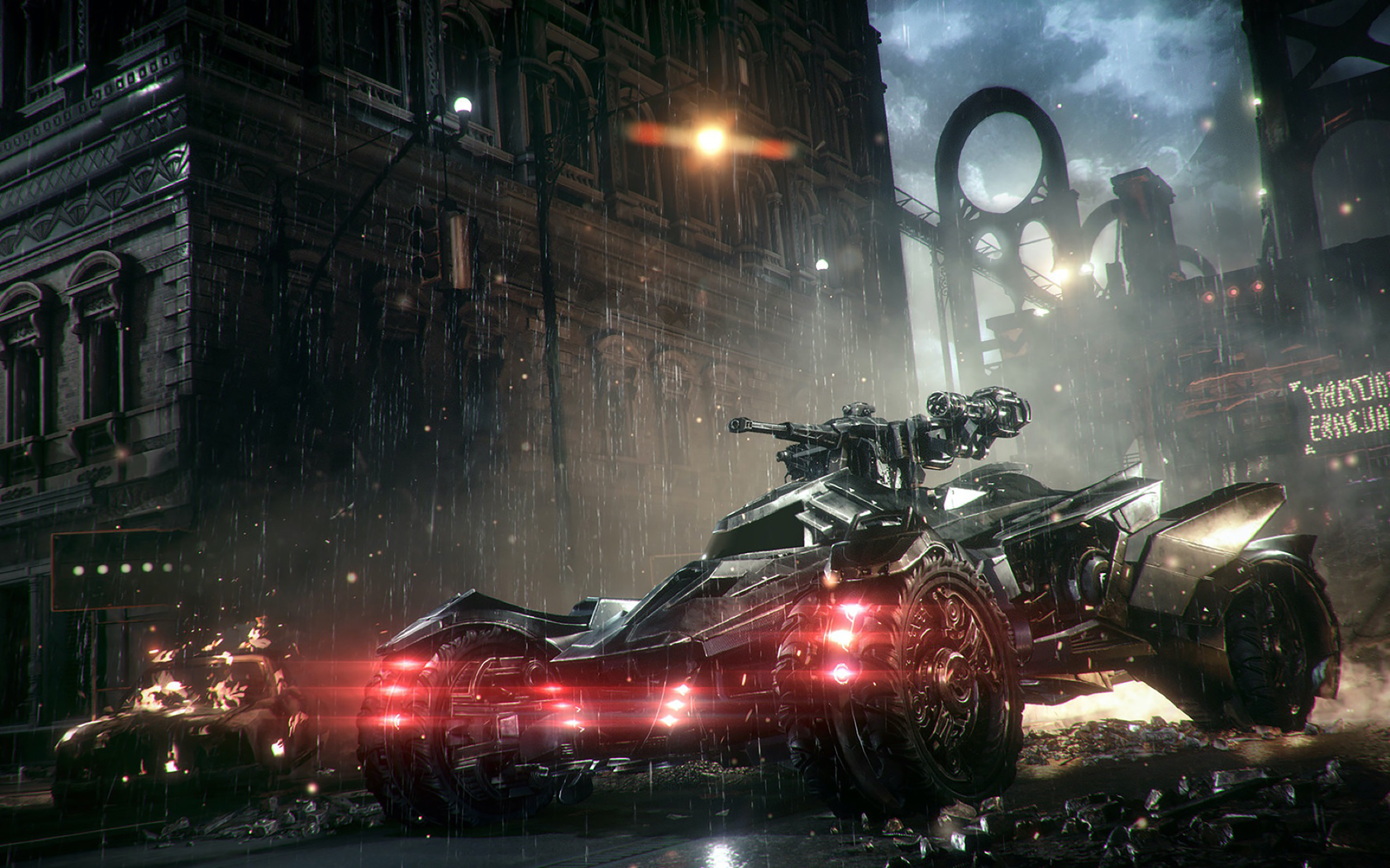 Das Batmobil im Kampfmodus.