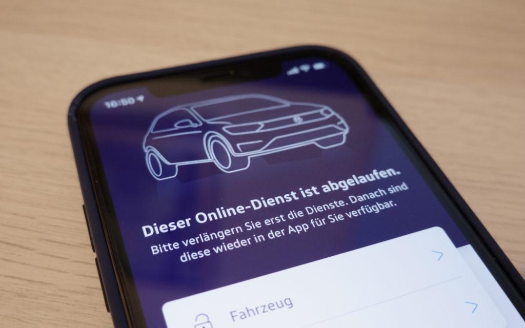 """""""We Connect""""-App von VW ohne kostenpflichtiges Service-Abo nutzlos."""