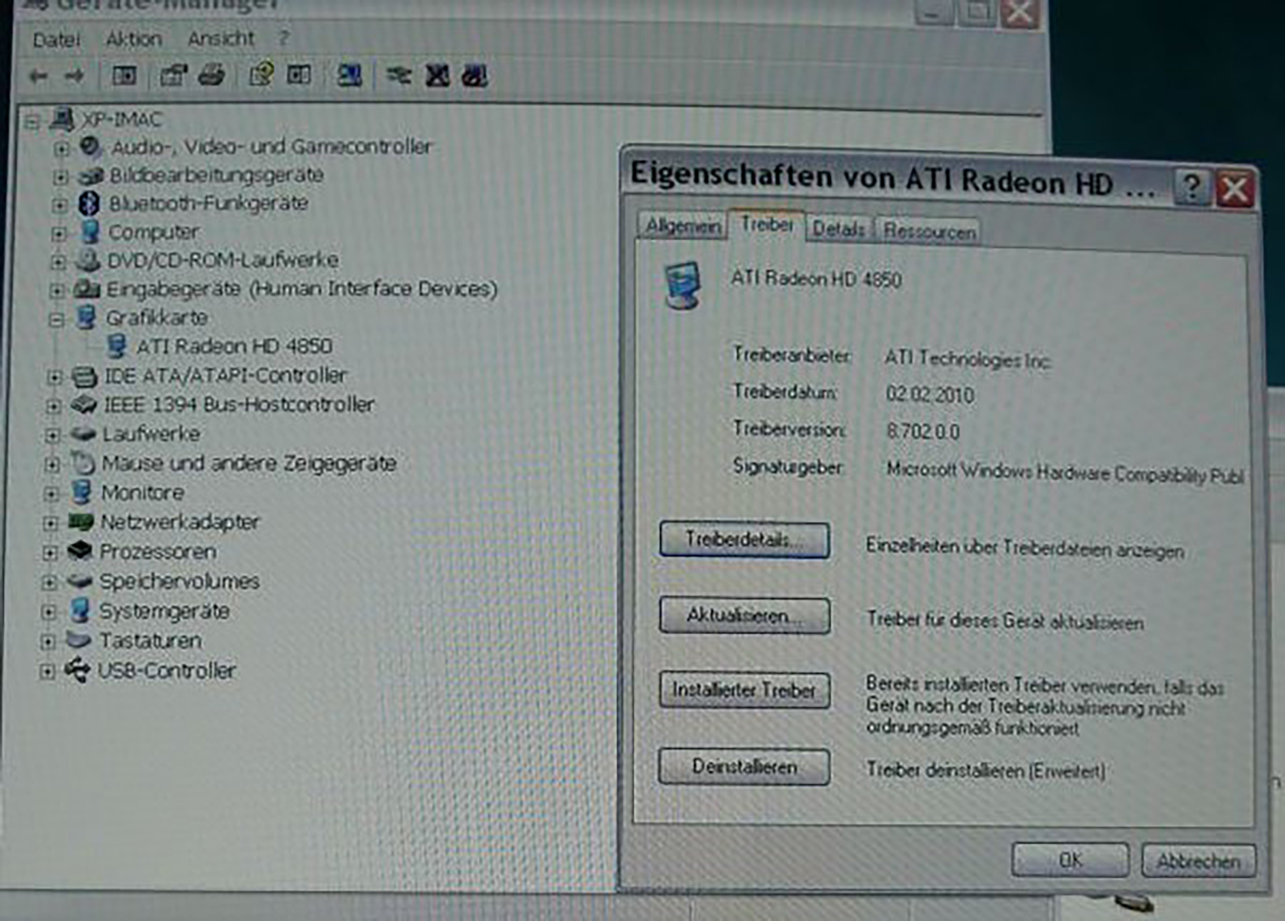 ATI Treiber unter Boot Camp 3.1 mit Windows XP SP3