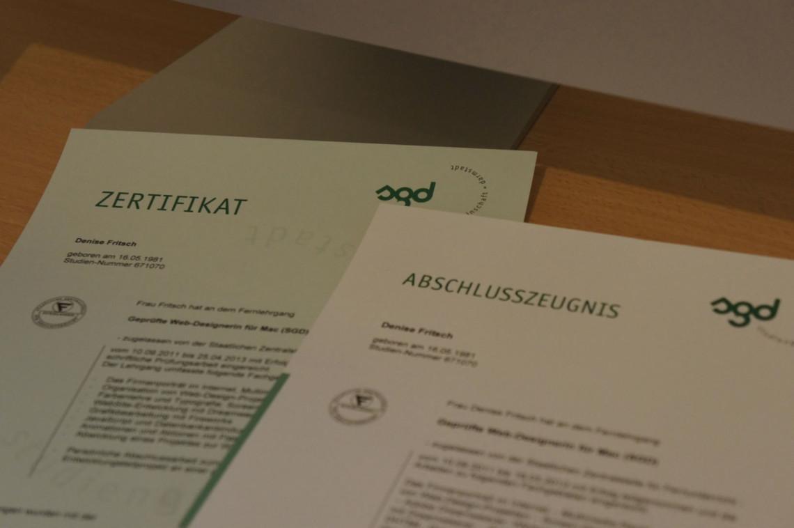 SGD Zeugnis und Zertifikat