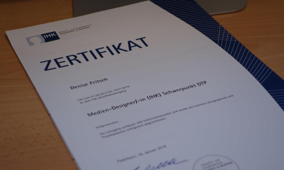 Zertifikat IHK Medien-Designer