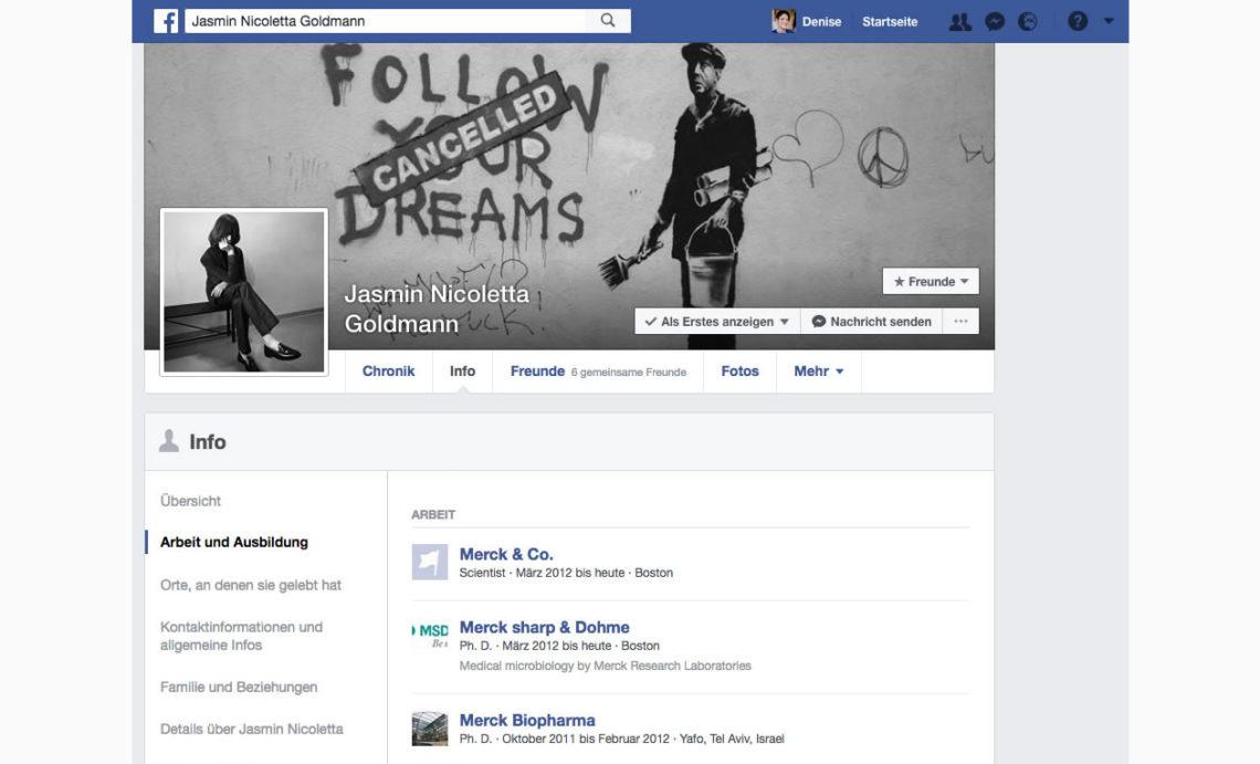 Öffentliche Angaben in Jasmins Facebook-Profil