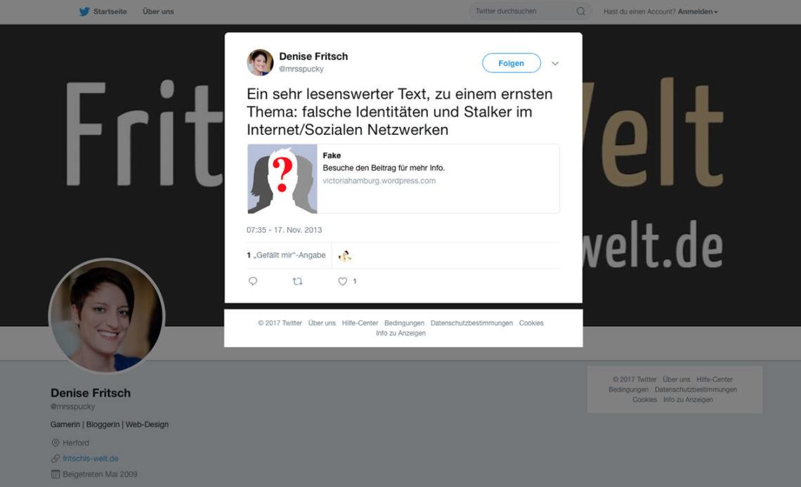 """Tweet zum Artikel """"Fake"""" von Victoria Schwartz"""