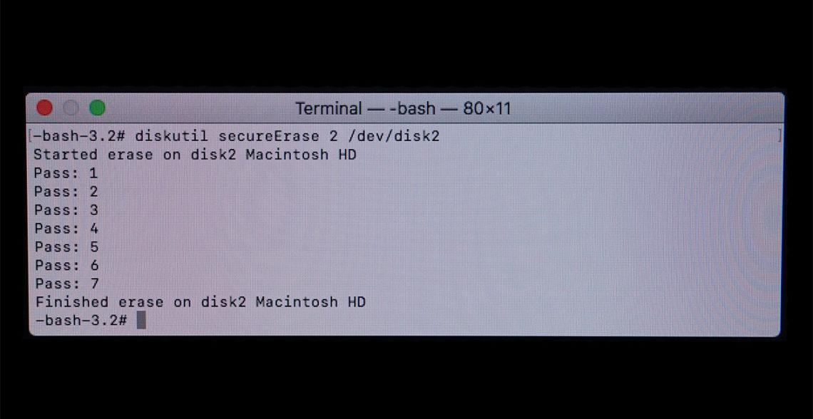 Terminal Befehl: diskutil secureErase
